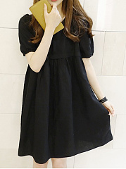 Round Neck  Plain  Puff Sleeve Shift Dress