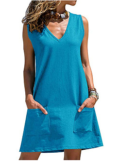 V-Neck  Patch Pocket  Plain Shift Dress