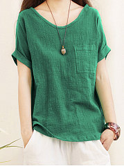 Spring Summer  Cotton  Women  Round Neck  Patch Pocket  Plain  Roll-Up Sleeve  Short Sleeve Blouses