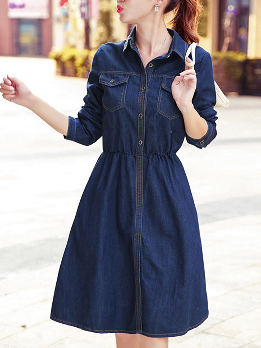 Denim Flap Pocket Plain Midi Skater Dress