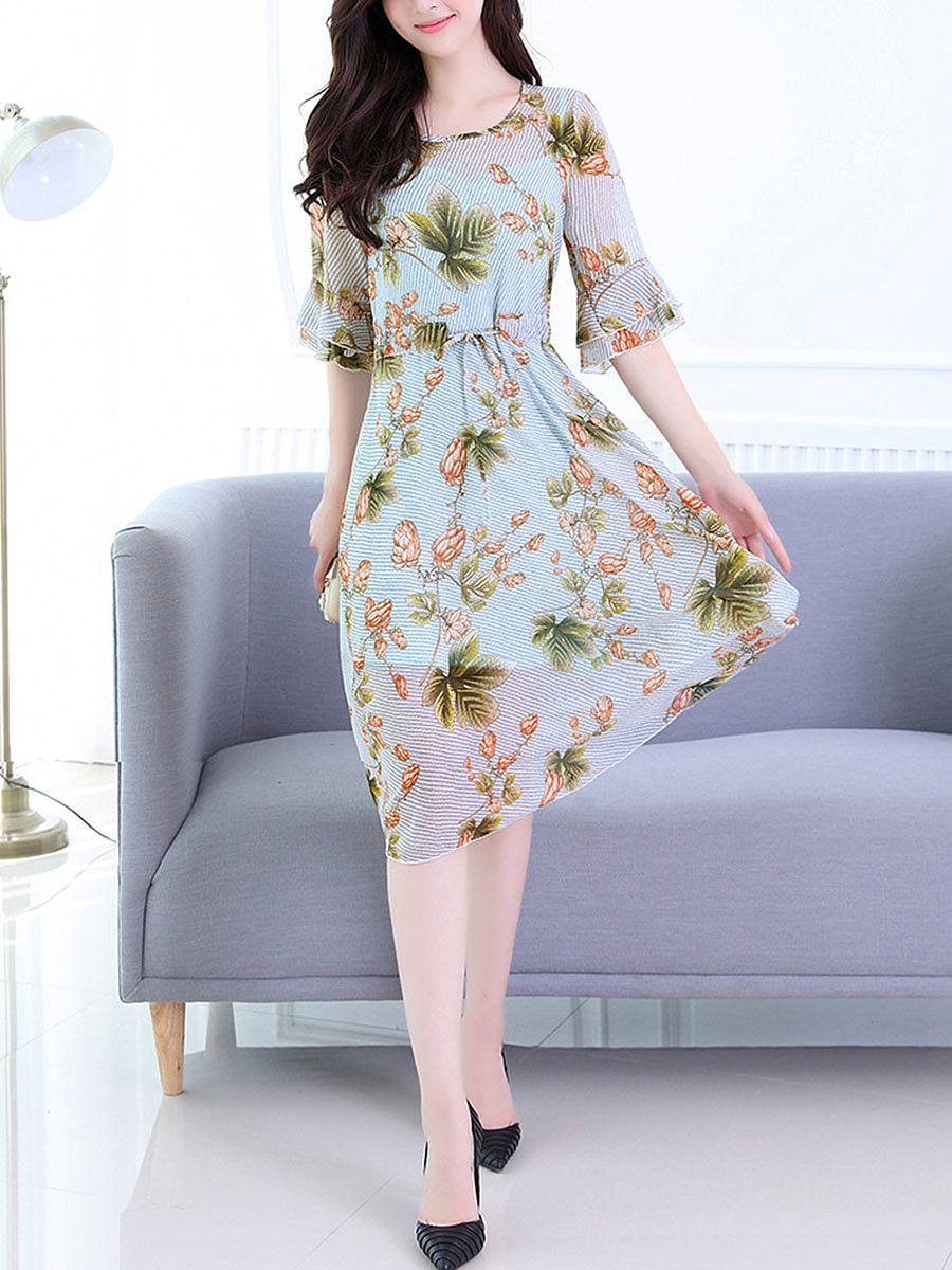 Bell Sleeve Drawstring Hollow Out Printed Chiffon Maxi Dress