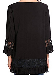 Round Neck  Loose Fitting Patchwork  Lace Long Sleeve T-Shirts