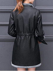 Lapel Drawstring Pocket PU Leather Coat