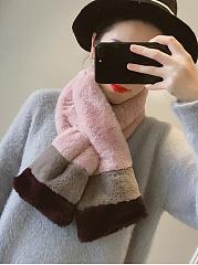 Korean-Fashion-Color-Block-Bobble-Faux-Fur-Collar-Wool-Ball-Series-Wrap-Scarf