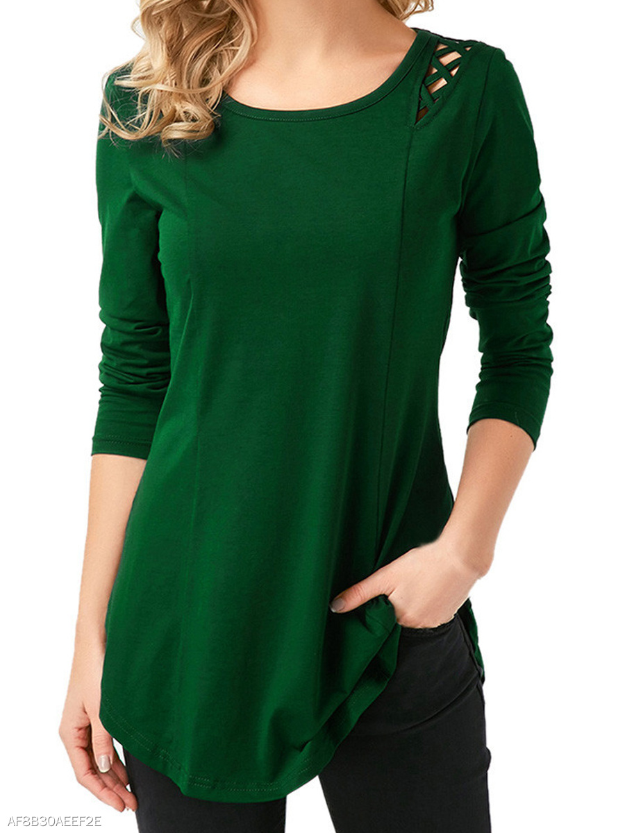 Autumn Spring Winter  Cotton  Women  Asymmetric Hem  Hollow Out Plain Long Sleeve T-Shirts