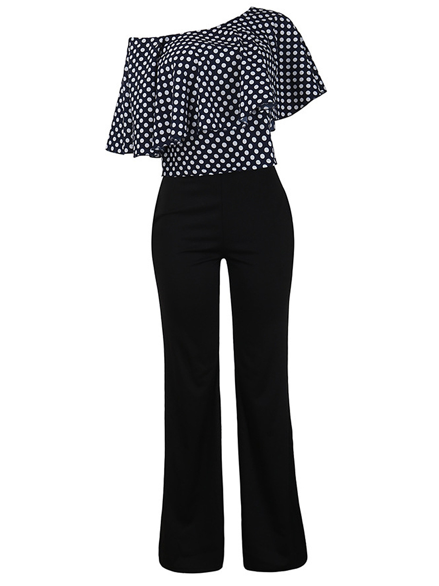 One Shoulder Polka Dot Flounce Top And Wide-Leg Pants