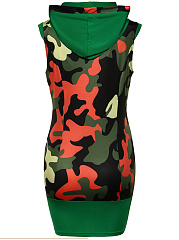 Hooded Camouflage Mini Bodycon Dress