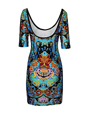Scoop Neck And Back Bodycon Dress In Tribal Printed