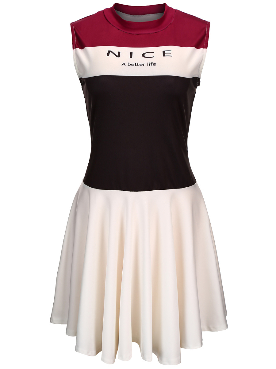 Band Collar Color Block Letters Skater Dress