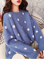 Round Neck  Polka Dot  Long Sleeve Sweaters Pullover
