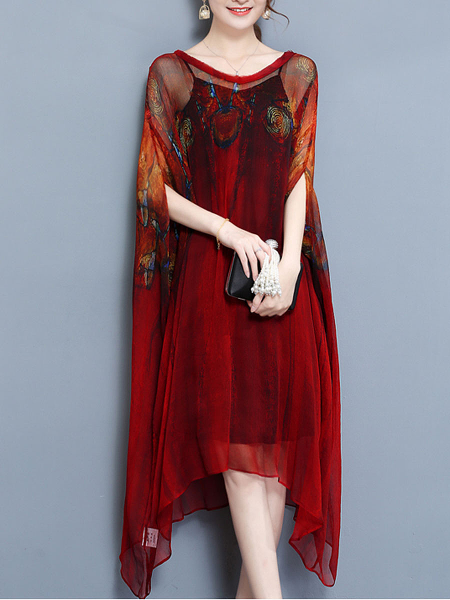 V-Neck Printed Batwing Two-Piece Long Dress