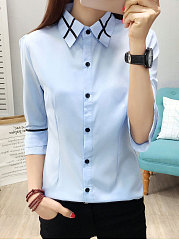 Autumn Spring  Cotton  Women  Turn Down Collar  Patchwork Single Breasted  Plain  Long Sleeve Blouses