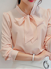 Bow Collar  Patchwork  Plain Blouses