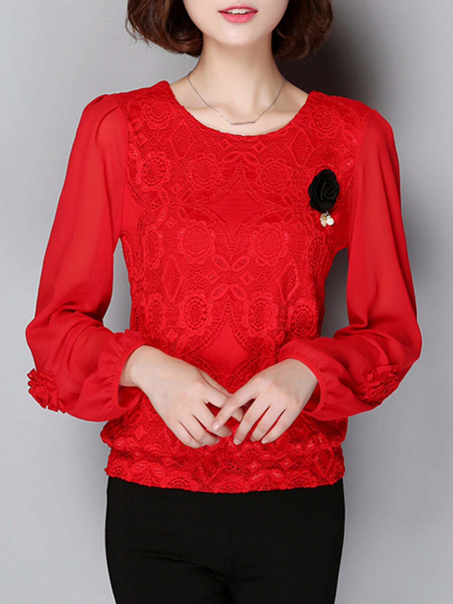 Round Neck Hollow Out Brooch Blouse
