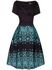 V-Neck Vintage Printed Inverted Pleat Skater Dress