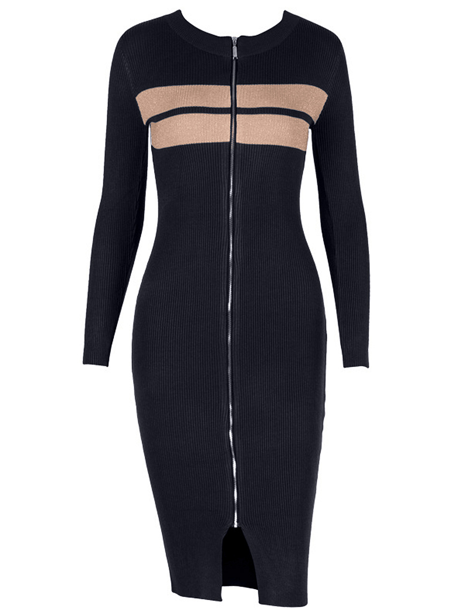 Crew Neck Slit Zips Striped Knitted Bodycon Dress