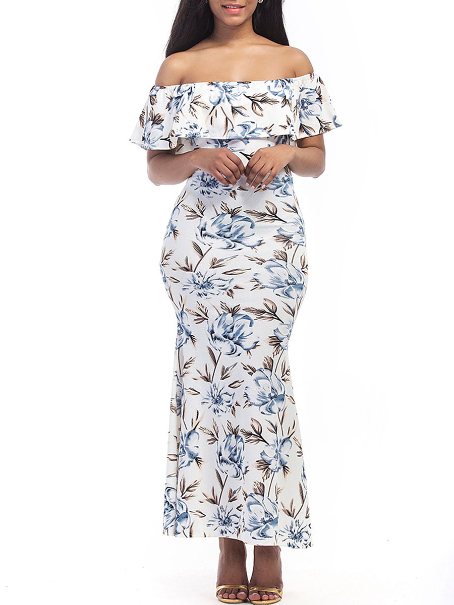 Off Shoulder Flounce Floral Mermaid Maxi Dress