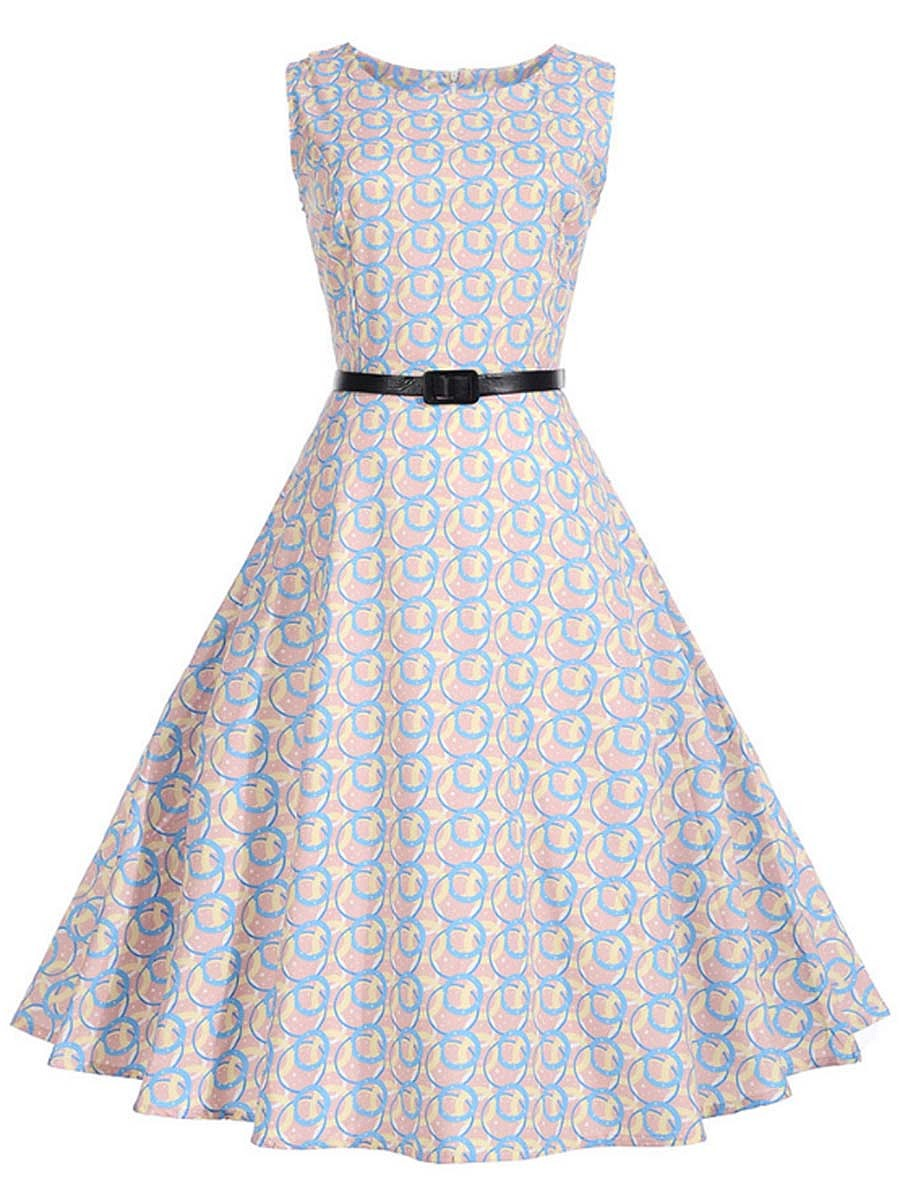 Round Neck Belt Printed Summer Sleeveless Vintage Skater Dress