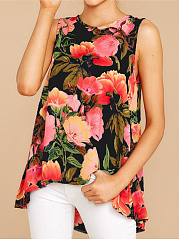 Polyester  Round Neck  Abstract Print Floral Printed  Short Sleeve Sleeveless T-Shirts
