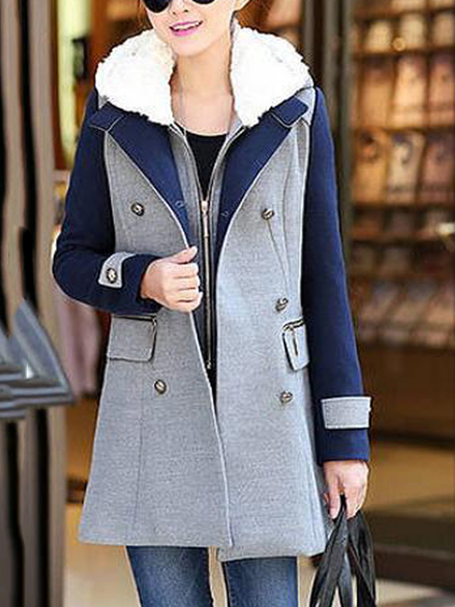Hooded Waistcoat And Double Breasted Color Block Coat