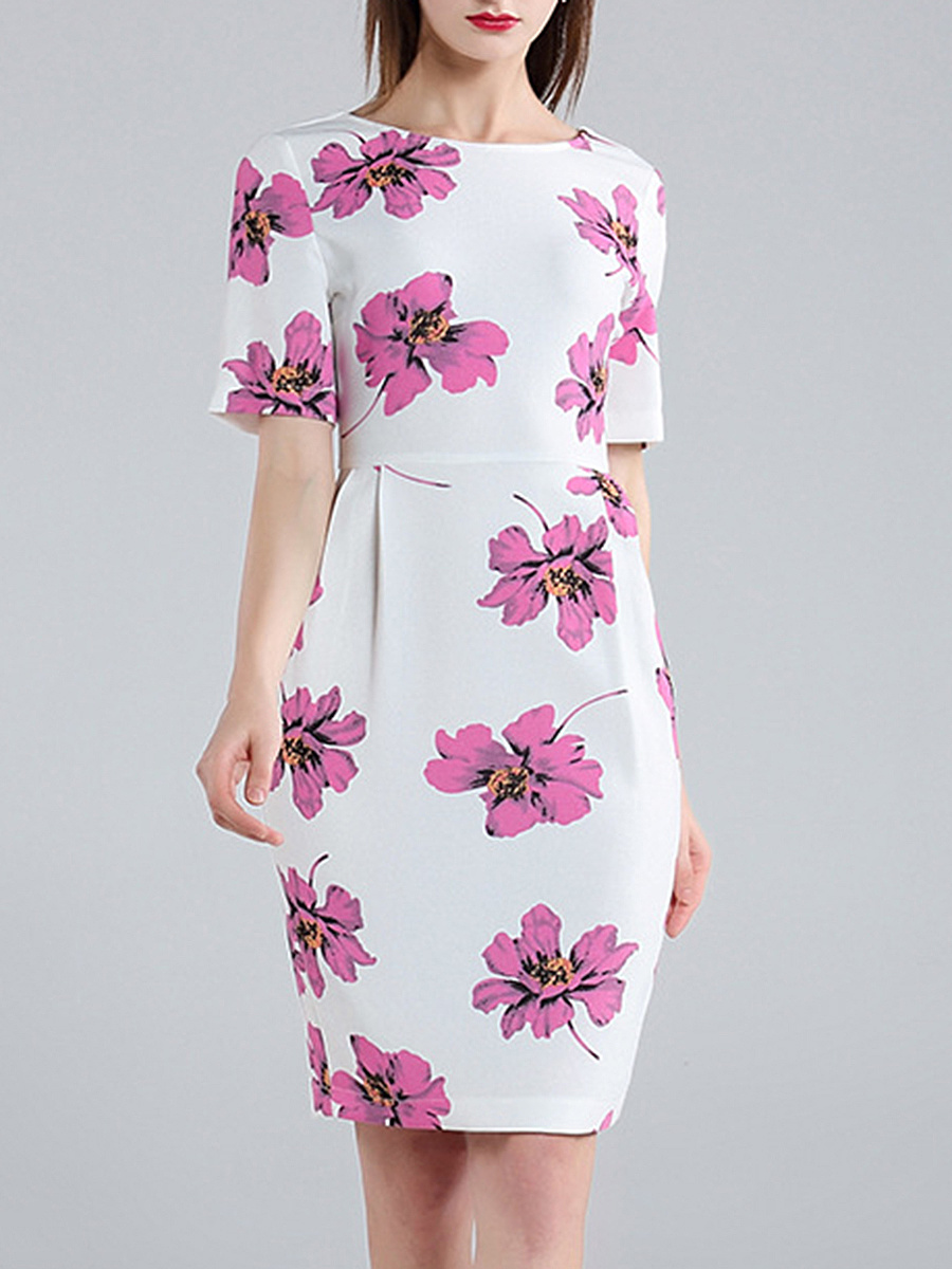 Fancy Round Neck Bodycon Dress In Floral Printed