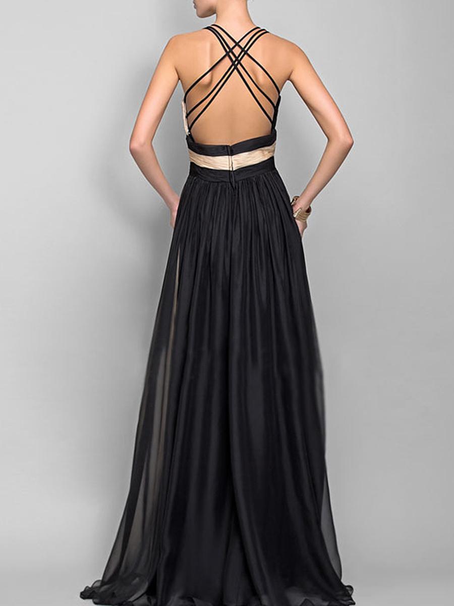 Deep V-Neck  Color Block  Chiffon Evening Dress