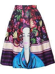 Designed-Elastic-Waist-Inverted-Pleat-Printed-Flared-Midi-Skirt