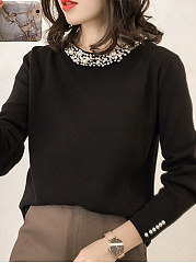 Band Collar  Beading  Plain Knit Pullover