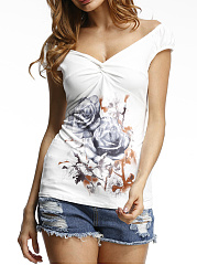Sweet Heart Floral Printed Short Sleeve T-Shirt