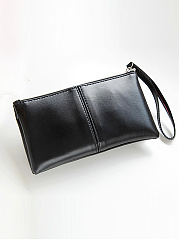 PU Zips Plain Wallet