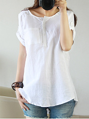 Round Neck  Plain  Roll-Up Sleeve T-Shirt