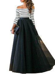 Off Shoulder Striped Patchwork Maxi Dress