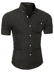 Fitted Solid Button Down Collar Men Shirts