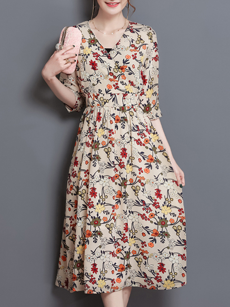 V-Neck Tiny Floral Printed Half Sleeve Midi Skater Dress