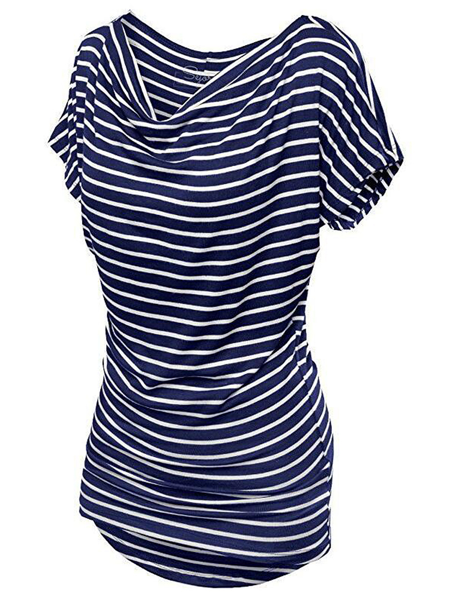 Cowl Neck  Striped Short Sleeve T-Shirt