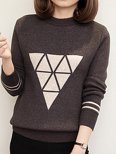 Round Neck  Geometric Knit Pullover