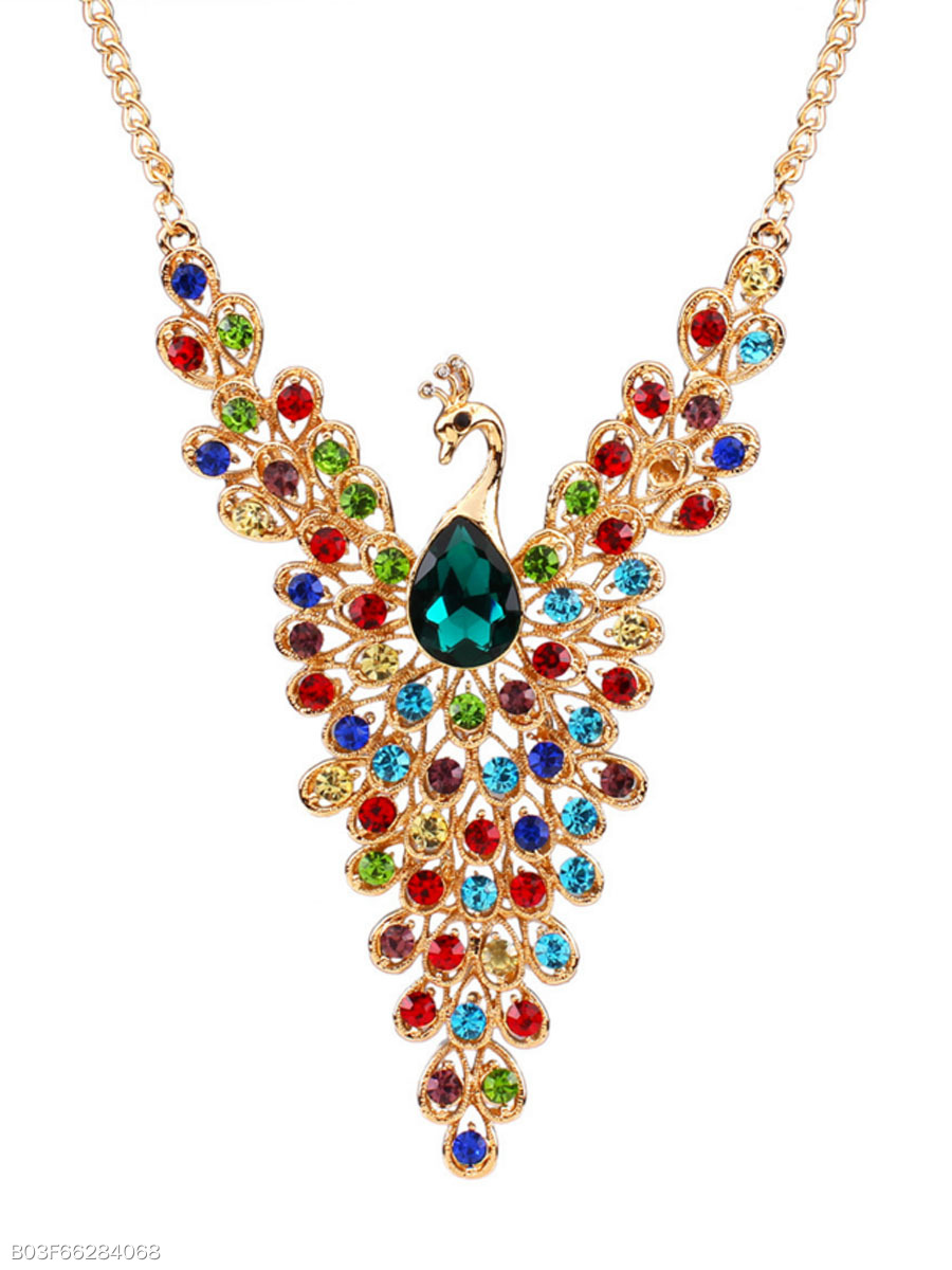 Peacock Shape Imitated Crystal Alloy Necklace