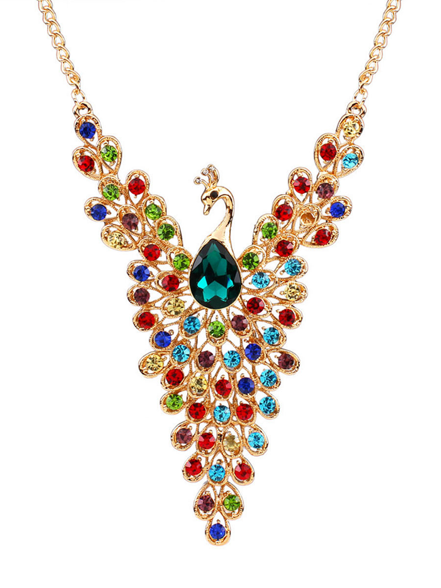 Peacock Shape Faux Crystal Gold Necklace