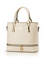 Gold Zip Plain Pu Shoulder Bag
