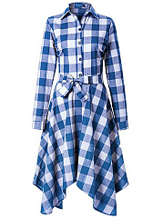 Turn Down Collar  Belt  Plaid Skater Dress