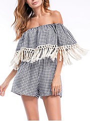 Off-Shoulder-Flounce-Fringe-Plaid-Romper