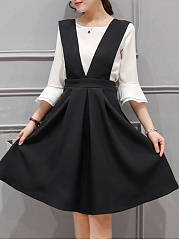 Round Neck  Color Block  Bell Sleeve Two-Piece Skater Dress