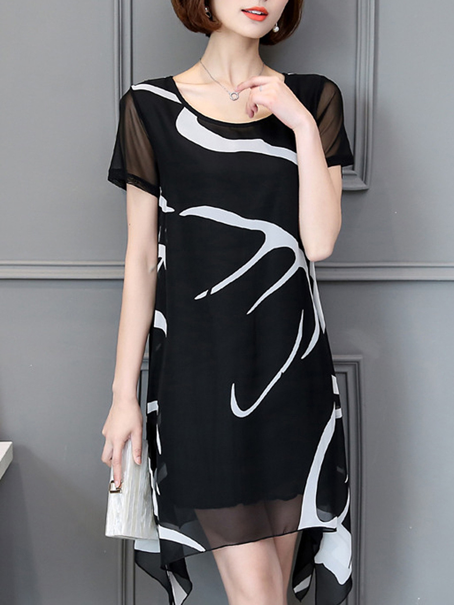 Asymmetric Hem Hollow Out Printed Chiffon Shift Dress