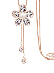 Crystal Flower Shape Gold  Long Necklace