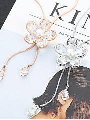 Imitated Crystal Flower Shape Alloy  Long Necklace