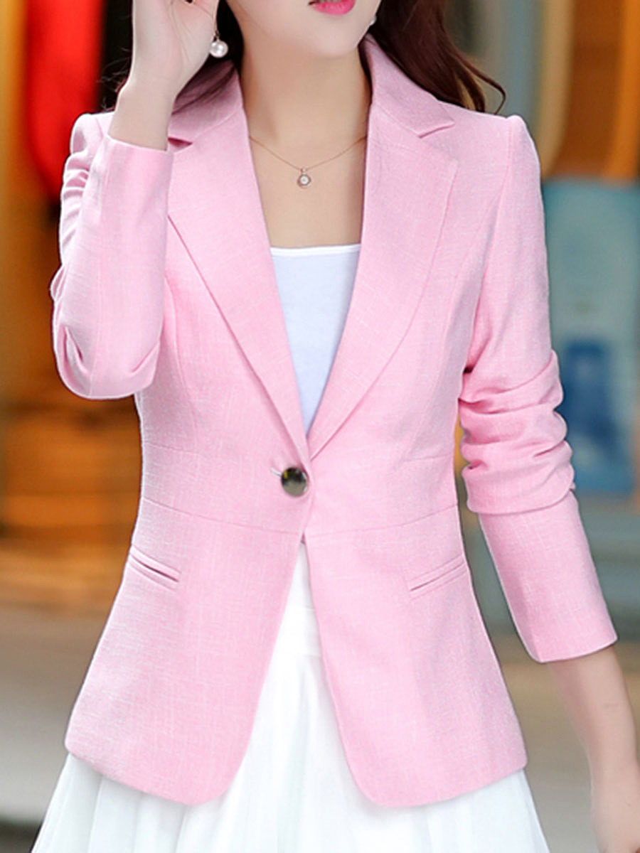 Office Notch Lapel Single Button Solid Blazer In Pink