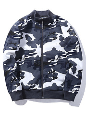 Band Collar Camouflage Fleece Lined Men Bomber Jacket