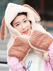 Cartoon Rabbit Winter Thicken Scarf Wrap Hat Gloves Set One Piece Wollen Ourdoors Long Hooded Scarfs Gloves