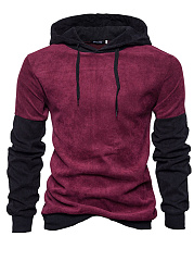 Color Block Corduroy Men Hoodie