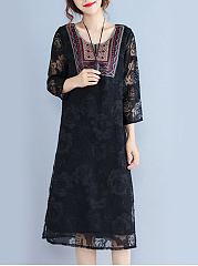 Round Neck  Patchwork See-Through  Embossed  Lace Maxi Dress